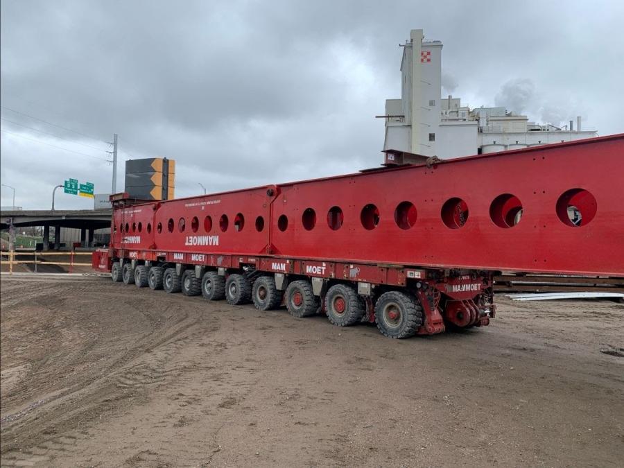 Mammoet's cantilever system preparing girder for final install.